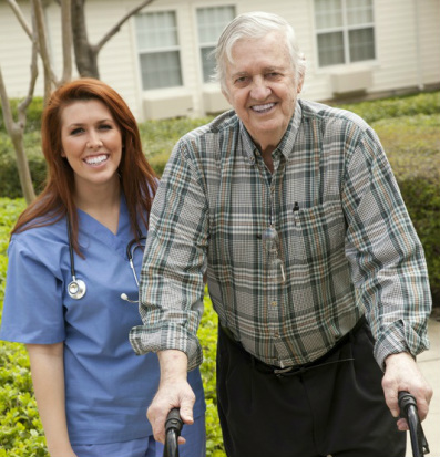 Home Health Care Nurse with Patient with Walker